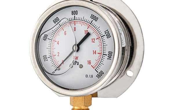 Glycerine filled pressure gauge or pressure gauge consists of an elastic pressure element